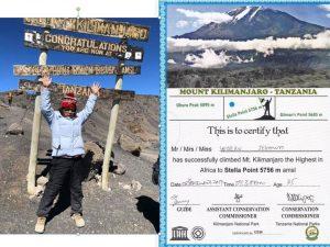 ステラポイントでの万歳 登頂証明書